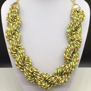 Chico's Lime Green Gold Tone Seed Beaded Necklace